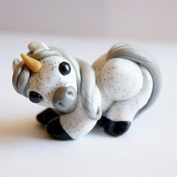 Unicorn Figurine Polymer Clay Fantasy Sculpture Miniature Cute White and Silver Unicorn
