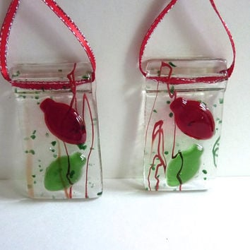 Red and Green Fused Glass Christmas Bulb Ornament