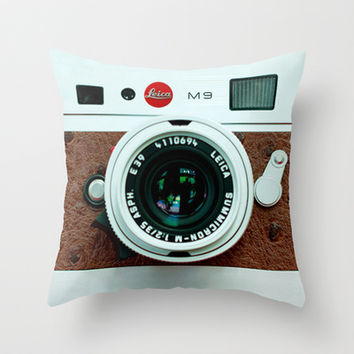 Classic retro White Leica  M9 with Brown Leather vintage camera Throw Pillow case by Three Second