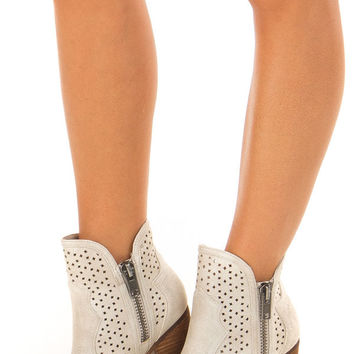 Cream Wooden Heeled Bootie With Cutout Detail and Zippers