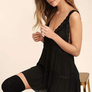 Free People Look Of Love Black Lace Slip