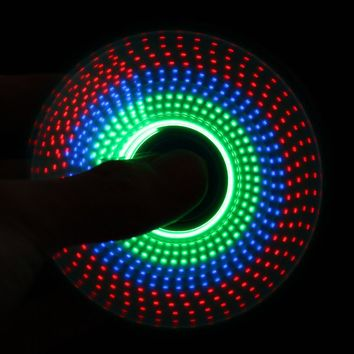 LED Light Rainbow  Hand Spin Finger Plastic EDC Spinner Hand For Autism And ADHD Relief Focus Anxiety Stress Wheel Toys Gift