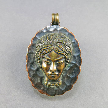 Vintage Copper Pendant Necklace With Brass Emblishment Vintage Jewellery Copper Jewelry 1930s Jewelry Antiques Collectibles