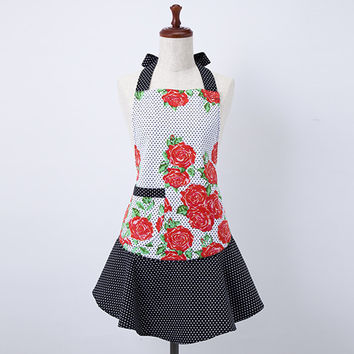 Red Roses Polka Dot Mary Jean Apron
