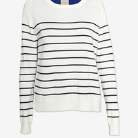 mason by michelle mason Silk Back Striped Cashmere Sweater-Just In-Clothing-Categories- IntermixOnline.com