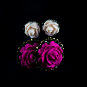 Rose Earrings. Hot Pink & Peach Flower Dangles. Antique Brass. Wedding Jewelry. Bridesmaid Gift. Polymer Clay  Rose Earrings. Flower Jewelry