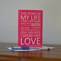 ONE DIRECTION / 1D Lyrics Greeting Card - The Story of My Life