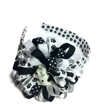 Puppy Hair Bow, Paw Print Headband, Dog Hair Bow, Handmade Hair Bow, 3.5 Inch Hair Bow, 1 Inch Headband, Paws Hair Bow, Made To Order