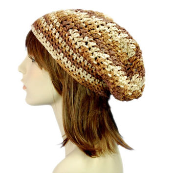 Ombre Weekender Slouchy Beanie Hat, Unisex Neutral Tones Winter Hat, Brown and Beige Natural Winter Hat