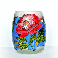 Hand Painted Glass Vase / Candle Holder / Decorative Glass ART/ Home Decoration/ Botanical /Peon  by Elena Joliefleur