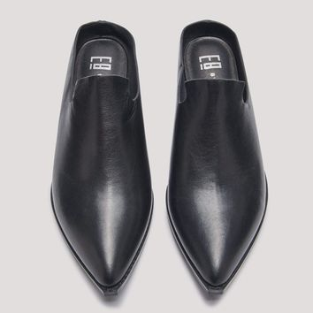 BETTSIE BLACK LEATHER MULES