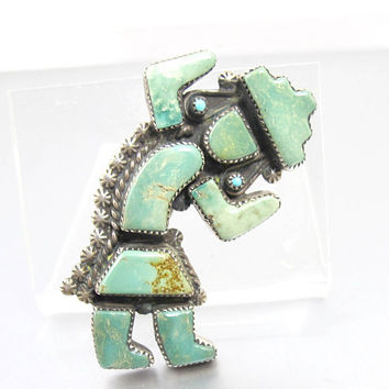 Kachina Dancer Pendant Slide. Native American Royston Turquoise Inlay Brooch. Southwestern Sterling Silver Turquoise Jewelry.
