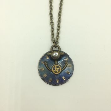Anchor with Watch face Steampunk Necklace