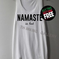 Namaste In Bed Shirt Tank Top Tunic TShirt T Shirt Singlet - Size S M L