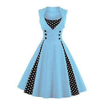 Going out Vintage A Line Polka Dot Light Blue Dress