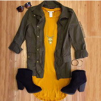 Solitaire Dress - Mustard