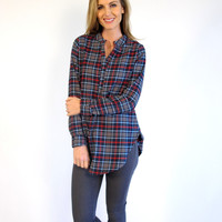 Minnie Plaid V-Neck Tunic: Blue & Gray mix