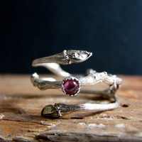 Witch Rin Twig Double Ring with Pink Tourmaline Botanical Silver Jewelry October Birthstone