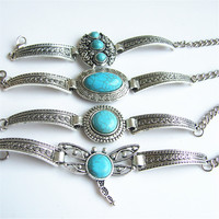 1 pcs Antique Silver Tibetan Jewelry Turquoise Stone Round , Dragonfly Bracelet Bangle