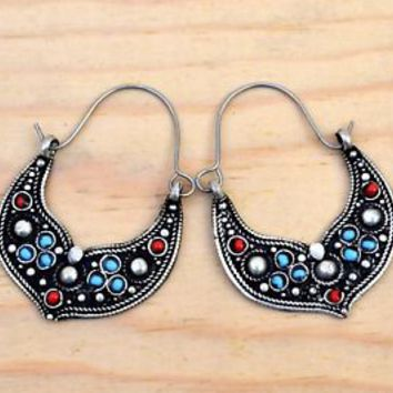 Afghan Kuchi Earrings Tribal Ethnic Jewelry Black Bohemian Boho Inlaid Carved