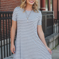 Zebra Lounge Dress - Heather Grey