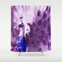 Peacock and Purple Sky Shower Curtain by Erika Kaisersot