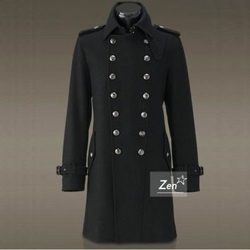 Retro Vintage Men's Double Breasted Trench Coat Overcoat Jacket Wool Outerwear Winter Military Black