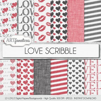 "Love Digital Paper ""LOVE SCRIBBLE"" hand drawn backgrounds, kisses, red hearts, black hearts, linen texture for photographers,scrapbooking"