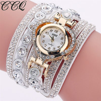 CCQ Brand Fashion Luxury Rhinestone Bracelet Watch Ladies Quartz Watch Casual Women Wrist Watch Relogio Feminino Gift C99