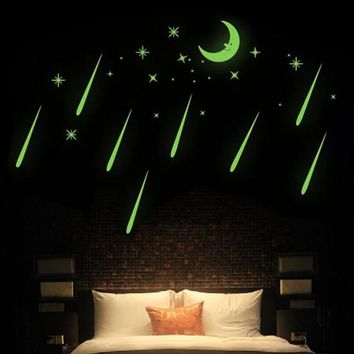 Newest In The Dark Light Moon And Star Meteor Ceiling Glow Wall Stickers Home Bedroom Kids Room Dormitory Windows Art Decor