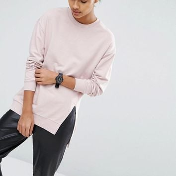 ASOS | ASOS Longline Sweatshirt With Front Split at ASOS