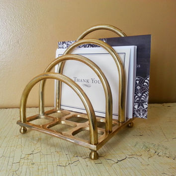 Vintage Brass Letter Holder Mail Sorter Made in Taiwan