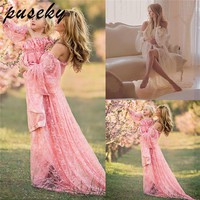 Maternity Photography Props Pregnancy Fancy Dress Lace Robe Strapless Maxi Gown Maternity Dress Split Front Women Long Dress