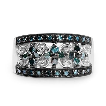 A Natural Ethically Mined Blue Diamond Anniversary Ring
