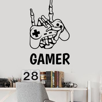 Vinyl Wall Decal Skeletal Hand Gamer Joystick Teen Room Decor Stickers (2404ig)