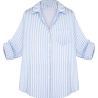 Sky Blue Stripe Long Sleeve Shirt - Choies.com