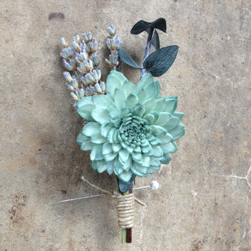 Handmade Wedding Boutonnieres - Sage Green Sola China Flower, Eucalyptus Boutonnieres, Provence Lavender Boutonnieres, Hemp Rope