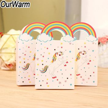 OurWarm 20Pcs Birthday Party Unicorn Candy Bag Kids Favor Handle Paper Bags Unicorn Popcorn Box Baby Shower Decorations Boy Girl