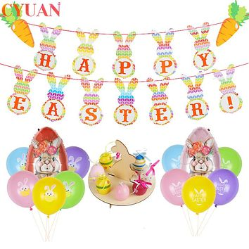 Happy Easter Decorations For Home Easter Eggs Bunny Rabbit Bunting Banner Balloons Decor Easter Crafts Party Supplies Kids Gifts