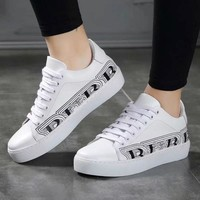 BURBERRY Fashionable Women Men Casual Leather Sport Running Shoes Sneakers White