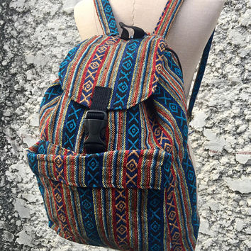 Aztec Boho Backpack Festival Travel School backpack Hippie Ethnic Woven Tribal Style Native Design Vegan Rucksack bag Gift for Men women