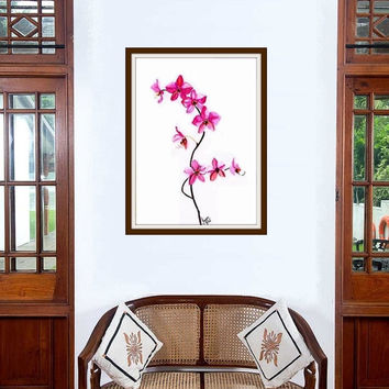 Pink Orchid dendrobium watercolor tropical flower painting wall art print poster decor flower decal print floral art poster large & small