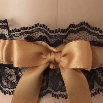 Gold and Black Lace Wedding Garter, Bridal Garter