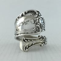 Size 9 Vintage 1898 Sterling Silver Spoon Ring
