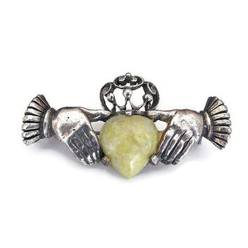 Sterling Claddagh Brooch, Connemara Marble, Irish Celtic Jewelry, Vintage Brooch, Sash Pin, Silver Brooch, Antique Jewelry