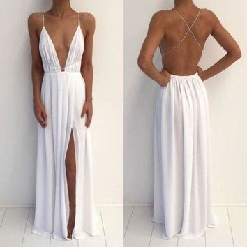 White Maxi Dress Slit Elegant Prom Dress