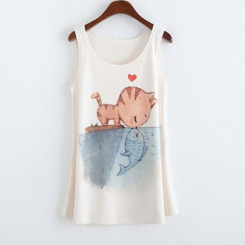 New Arrive Women Cat Fish Printed Sexy Vest Tank Girls Tee Blouse Tops (Color: White) = 1929541188