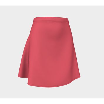 Solid Flare Skirt - Coral