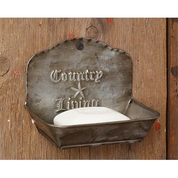 Country Living Metal Wall Mounted Soap Dish Farmhouse