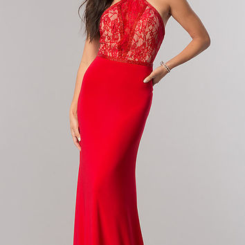 Sherri Hill Prom Dress with Racerback Lace Bodice